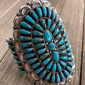 Jewelry - Navajo Turquoise & Sterling Cluster Cuff